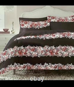 Très Rare Betsey Johnson Baté Floral Full Queen Comforter + Sham Set