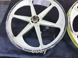 Très Rare Blanc Ou Jaune Acs Z-mags 6 Spoke Mags Old School Bmx Set Rims Zmags