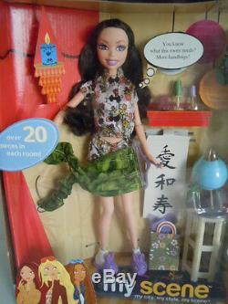 Tres Rare Mattel Barbie My Scene My Room Se Préparer Nolee Doll 20 + Set Piece