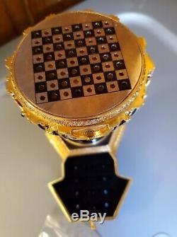 Très Rare Or Et D'argent Franklin Menthe Oeuf Fabrege Avec Jeu D'échecs À L'intérieur
