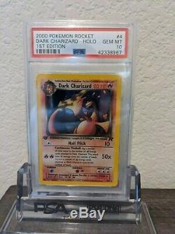 Tres Rare Psa 10 Gem Mint 1ère Édition Sombre Charizard Holo Pokemon Set Rocket