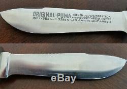 Tres Rare Puma Waidbesteck Set 1968 Waidblatt 3588 & 3588 Jagdnicker 1/2 Withbox
