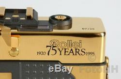 Tres Rare Rollei 35 Limited Edition Gold 75ème Ann. Set Box En Bois D'affichage