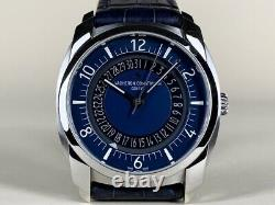 Très Rare Vacheron Constantin Quai De L'ile Date Cadran Bleu Montre En Full Set
