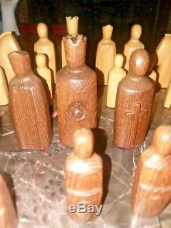 Très Rare Vintage Moderniste Anri Elseneur Bois Jeu D'échecs