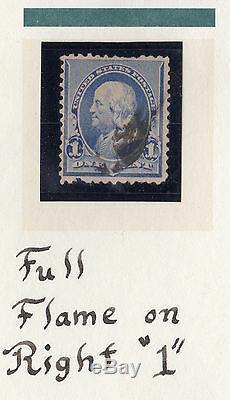 Us # 219v (1890) Occasion 1c Efo'candle Flame 'set De 12 2 Très Rare Rare