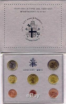Vatican Bu Officiel 2003 3,88 Euro Coin Set, Mintage Seulement 65000 Ensembles, Tres Rare