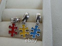 Véritable Pandora Très Rare Retraité Jigsaw Piece Awareness Triple Charm Set