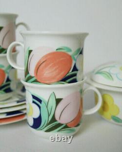 Very Rare Arabia Finland Arctica Poetica Coffee Cups, Soucoupes Et Sugar Bowl Set