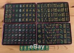Vintage Ashton & Rietz Mah Jong Set 152 Tuiles, 4 Racks En Bois, Les Années 1920 Très Rares