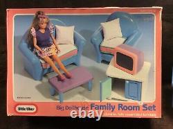 Vintage Little Tikes Maison Familiale De Poupée Chambre Set Complete Tres Rare Etui Wow