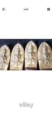 Vintage Très Rare En Bois De Rose Et Laiton De 1950 Siam Ménagère 151 Pièces Bouddha
