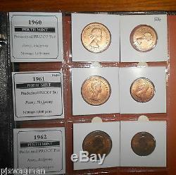 Wow Perth Mint Proof Set 1956-1962 Penny & Half Penny Très Rare